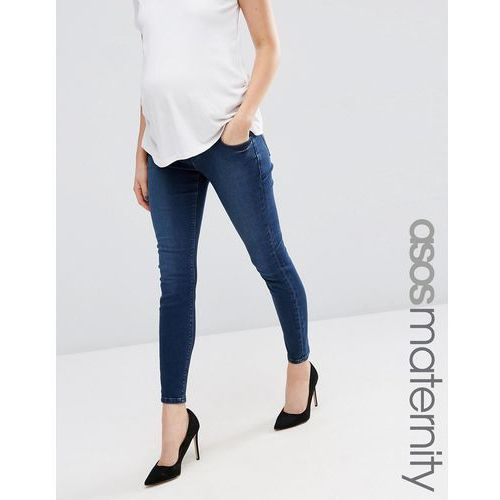 ASOS Maternity Ridley Skinny Jean In Minx Wash With Under The Bump Waistband - Blue