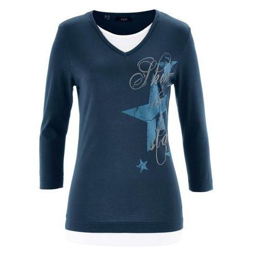 Shirt z rękawem 3/4 ciemnoniebieski z nadrukiem, Bonprix, 36-58