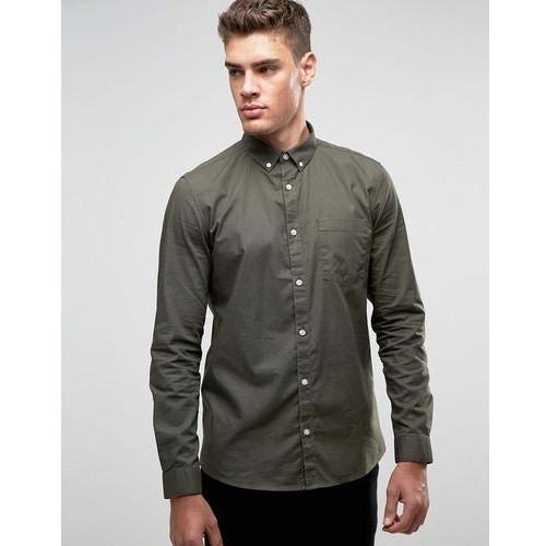River Island Long Sleeved Oxford Shirt In Green In Regular Fit - Green