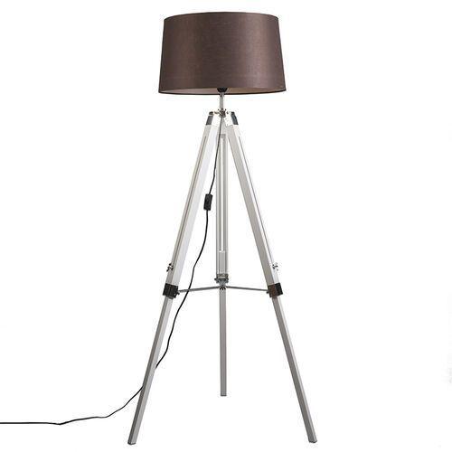 Lampa podłogowa biała klosz lniany brązowy 45cm - tripod marki Qazqa