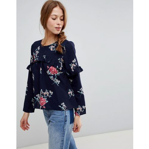 long sleeve floral top with frill - navy marki Qed london