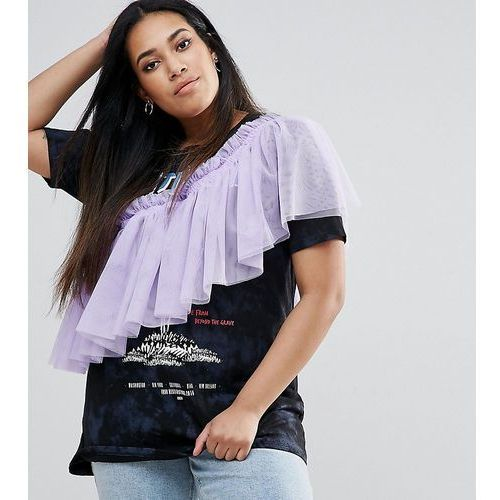 t-shirt with washed band print and exaggerated ruffle - multi, Asos curve