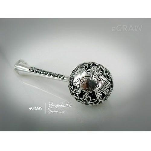 Alechrzest.pl Grzechotka srebrna 925 grawer pamiątka na chrzest