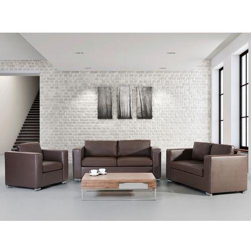 Skórzana sofa brązowa rozmiar xxl 2 sofy + 1 fotel helsinki, marki Beliani