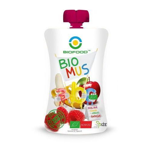 Bio food (soki, przetwory, octy, olej kokosowy) Mus malinowo - bananowo - jabłkowy bio 90 g - bio food