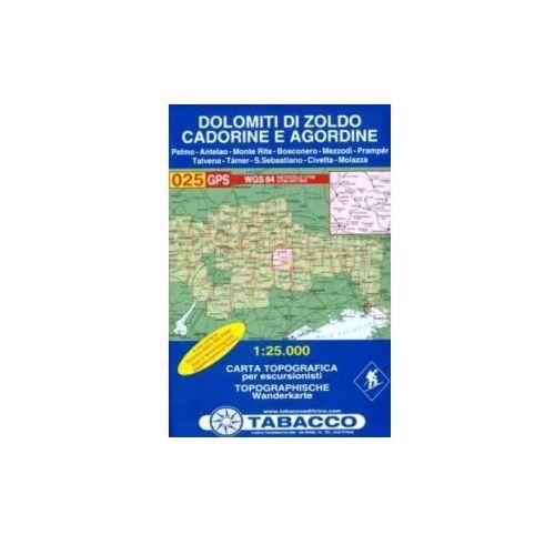 Dolomity Zoldo mapa 1:25 000 Tabacco, oprawa miękka