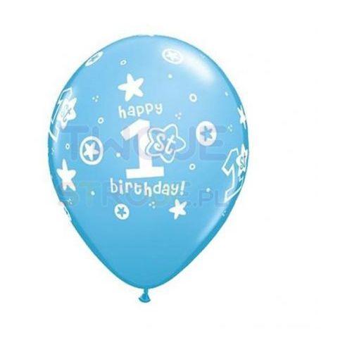 Twojestroje.pl Balon niebieski 1st happy birthday biały 30cm 1szt