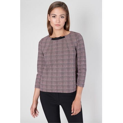 Elegancka bluzka w różową kratę - Click Fashion, 1 rozmiar