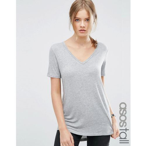 ASOS TALL The New Forever T-Shirt With Short Sleeves And Dip Back - Grey, kolor szary