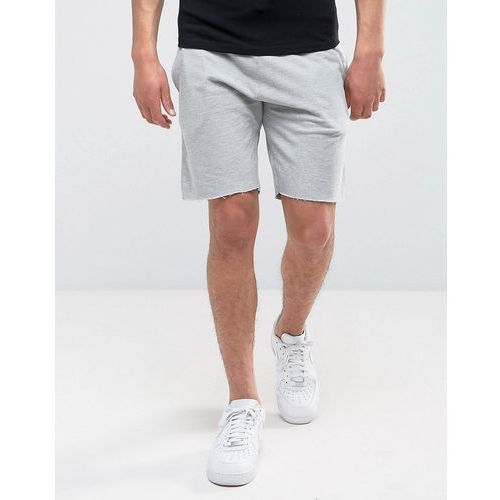jersey shorts with raw hem in grey - grey marki New look