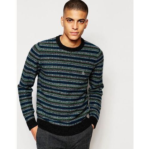 Original Penguin Striped Wool Knitted Jumper - Black