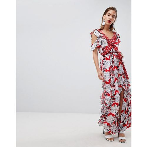 floral print ruffle detail maxi dress - red, River island