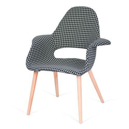 Tapicerowany fotel do jadalni Plush Arm tetris biało czarna, kolor czarny