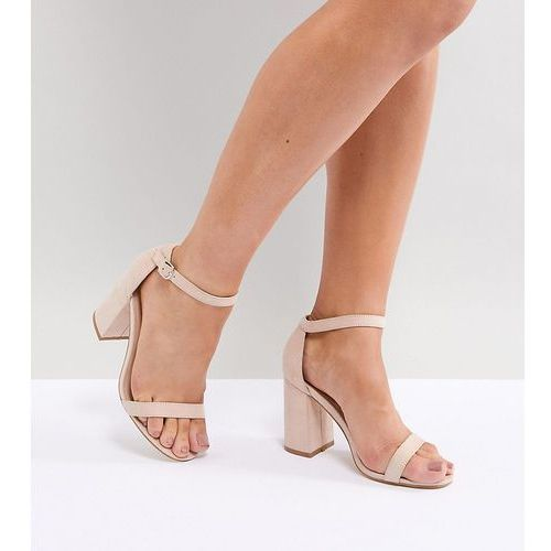 London rebel wide fit block heeled sandals - beige