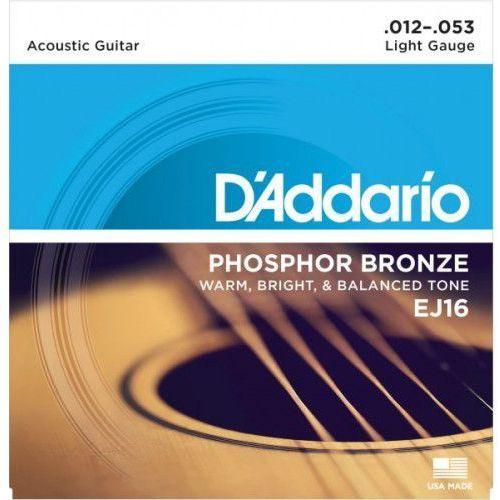D'addario  ej16 phosphor bronze light 12-53 struny do gitary akustycznej