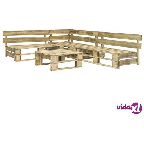 4-cz. zestaw wypoczynkowy do ogrodu, palety z fsc, zielone marki Vidaxl