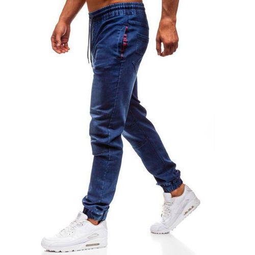 Spodnie jeansowe joggery męskie granatowe Denley Y260B, kolor niebieski