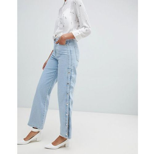 River island wide leg jeans with popper detail in light wash - blue