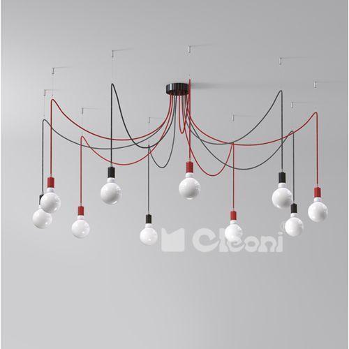 Lampa wisząca octopus 10xe27 z czerwonym przewodem, 1201a10a+ marki Cleoni