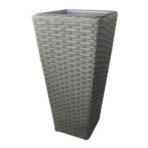Donica z technorattanu NAC kwadratowa 60 x 28 x28 cm szara (5907510487220)
