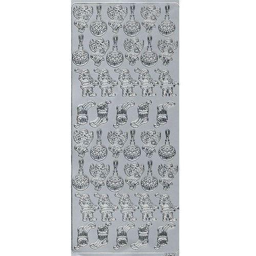 Sticker srebrny 01867 - elementy świąteczne x1