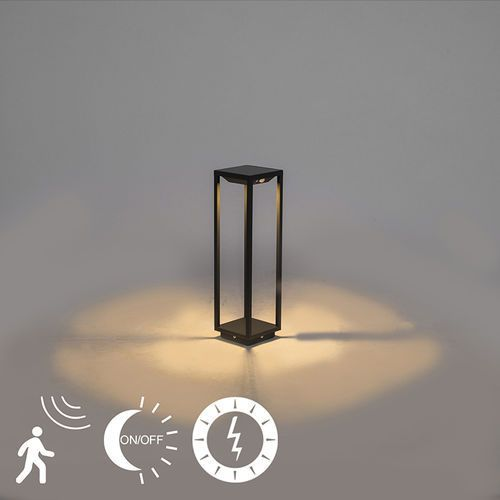 Qazqa Nowoczesna lampa zewnętrzna 50 cm ciemnoszara solarna czujnik zmierzchu/ruchu - volendam