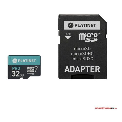 Karta pamięci Micro SDhc + adapter 32GB class10 UIII A1 90MB/s Platinet PMMSD32UI