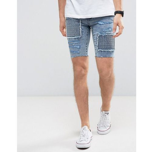 skinny denim shorts with rips in acid wash - blue marki New look