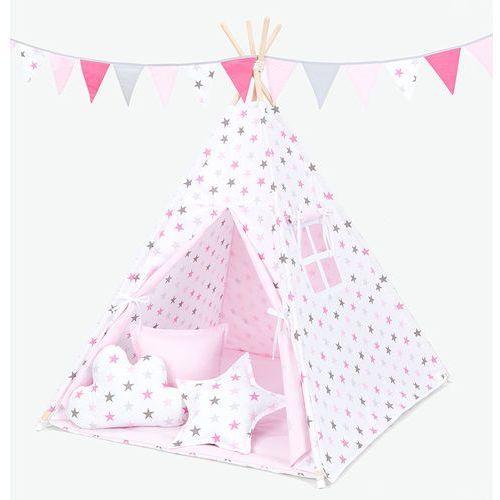 Mamo-tato namiot tipi z matą i poduszkami gwiazdki szare i różowe duże / jasny róż