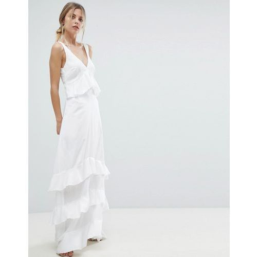 Y.A.S Ruffle Maxi Dress With Lace Inserts - White