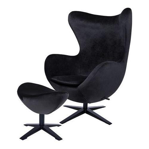 Fotel egg szeroki velvet black z podnóżkiem czarny.50 - welur, podstawa czarna marki Produkt wycofany