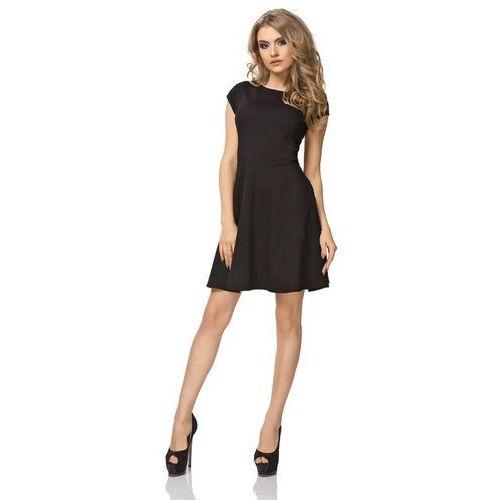 Czarna Sukienka Klasyczna Rozkloszowana z Mini Rękawkiem, rozkloszowana