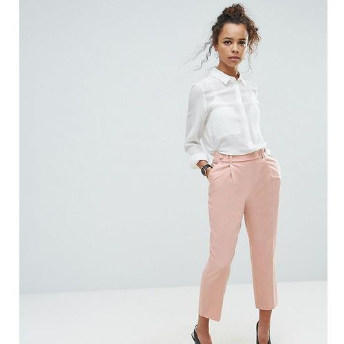 Asos petite tailored pleat front high waist tapered trouser with button & tab detail - pink