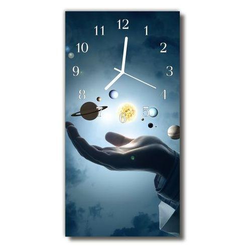 Zegar szklany pionowy planety układ słoneczny niebieski marki Tulup.pl