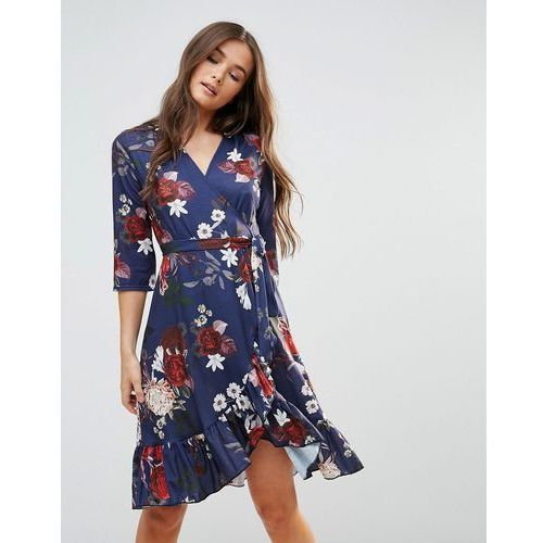Qed london wrap floral midi dress with ruffle - navy