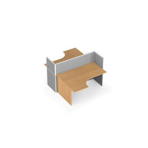 Zestaw parawanów biurowych ze stołem ergonomicznym, tekstylny, 2 miejsca, brzoza marki B2b partner
