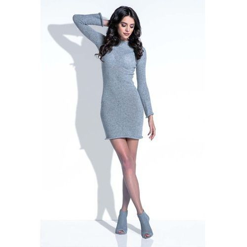 Szara Sukienka Wełniana Dopasowana Mini, kolor szary