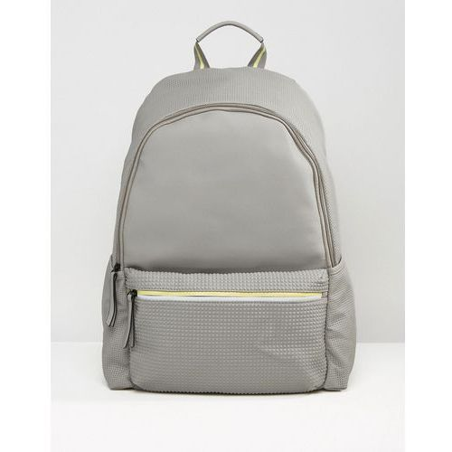 River Island Textured Backpack With Yellow Trim In Grey - Grey
