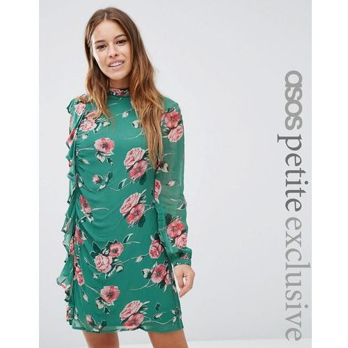 ASOS PETITE Long Sleeve Ruffle Mini Shift Dress in Floral Print - Green, kolor zielony