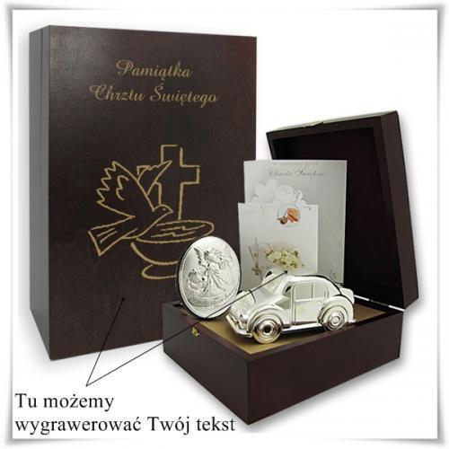 Zestaw upominkowy na chrzest w drewianej szkatułce z opcją graweru dedykacji, życzeń, towar z kategorii: Na parapetówkę dla nich