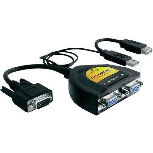 Delock Adapter VGA->2xVGA+zasilanie USB+USB(AF) DARMOWA DOSTAWA DO 400 SALONÓW !!, kup u jednego z partnerów