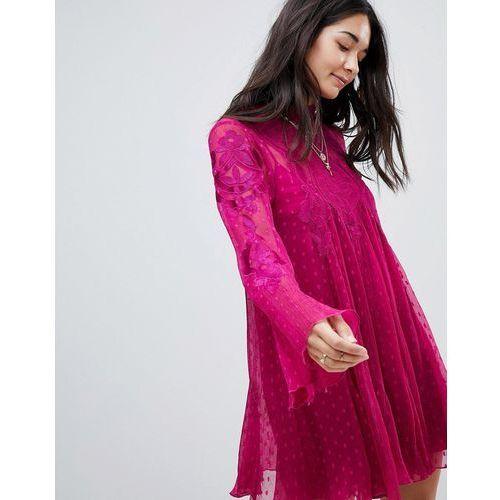 Free People Cocquet Sheer Mini Dress - Red, kolor czerwony