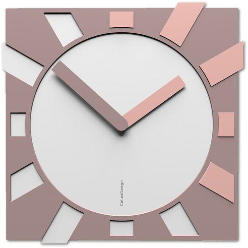 Kwadratowy zegar na ścianę do salonu Jap-o CalleaDesign biały / jasnoróżowy (10-023-32)