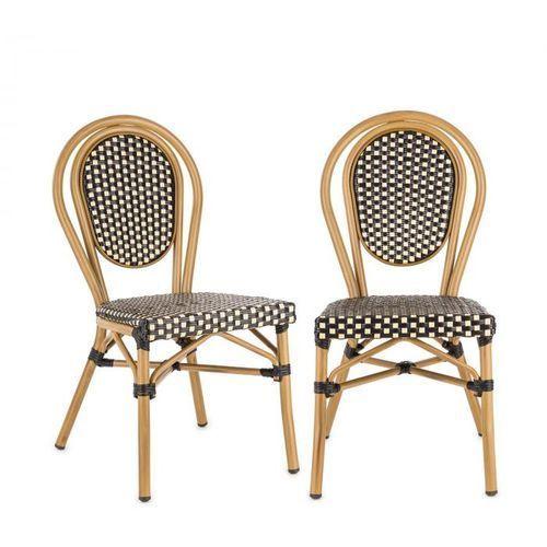 Blumfeldt montpellier bl krzesło możliwość ułożenia jedno na drugim rama aluminiowa czarno-kremowy (4060656152801)