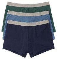 Bokserki (3 pary) bonprix ciemnoniebieski + niebieski dżins + zielony, kolor wielokolorowy