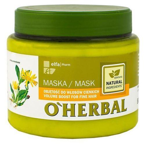 O'herbal maska zwiększająca objętość cienkich włosów z ekstraktem z arniki 500ml marki Elfa pharm