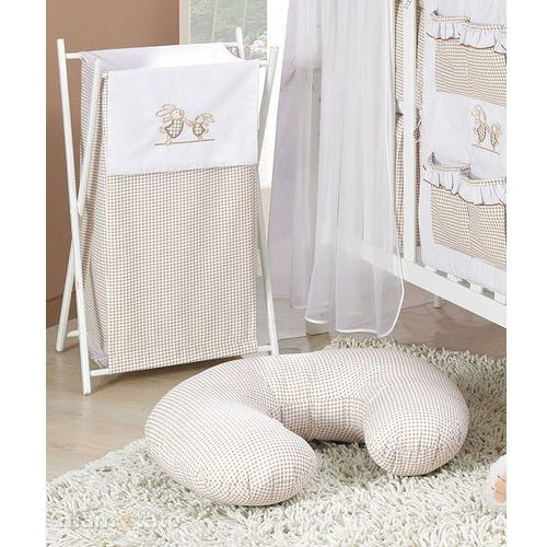Mamo-tato kosz na bieliznę wesołe zajączki brąz z białym