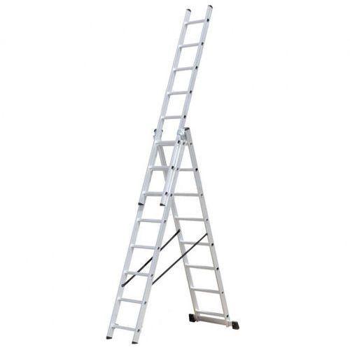 B2b partner Trzyczęściowa aluminiowa drabina hobby, 3x9 stopni, 5,92 m
