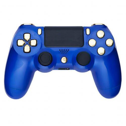 Playstation 4 custom controller - royal blue and chrome gold wyprodukowany przez Custom controllers