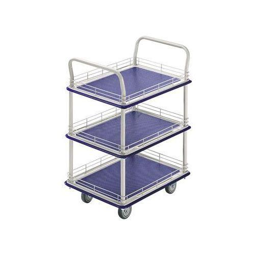 Seco Przemysłowy wózek stołowy, z trzema piętrami, nośność 200 kg. piętra z relingiem